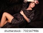 sexy woman lying on softbags... | Shutterstock . vector #732167986