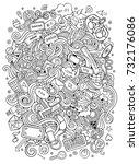 cartoon cute doodles hand drawn ... | Shutterstock .eps vector #732176086