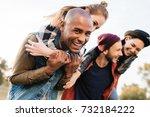 selective focus of happy... | Shutterstock . vector #732184222