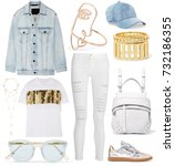 set of stylish clothes ... | Shutterstock . vector #732186355