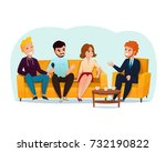 three smiling talk show... | Shutterstock .eps vector #732190822