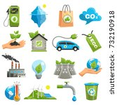 isolated eco icon set with... | Shutterstock .eps vector #732190918