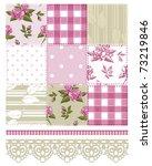 patchwork floral rose pattern... | Shutterstock .eps vector #73219846