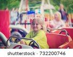 happy little girl on roller... | Shutterstock . vector #732200746