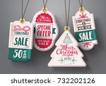 christmas hanging sale tags... | Shutterstock .eps vector #732202126
