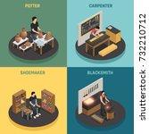 craftsman professions 2x2... | Shutterstock .eps vector #732210712