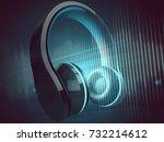earphones  3d rendering    Shutterstock . vector #732214612