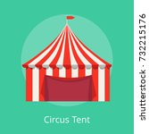 circus tent poster with striped ... | Shutterstock .eps vector #732215176
