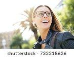 portrait of trendy city girl... | Shutterstock . vector #732218626
