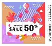 autumn sale memphis style web...   Shutterstock .eps vector #732221272