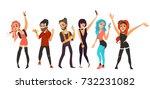 friends having fun at birthday... | Shutterstock .eps vector #732231082