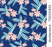 floral brush drawn contemporary ... | Shutterstock .eps vector #732231832