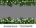 fir branch with neon lights on... | Shutterstock .eps vector #732236698