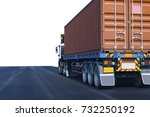 truck on road container ... | Shutterstock . vector #732250192