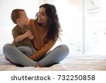 young mother spending time with ... | Shutterstock . vector #732250858