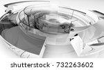 3d transparent smokey glass... | Shutterstock . vector #732263602