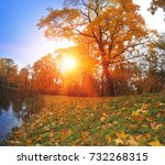 autumn park with the river.   | Shutterstock . vector #732268315