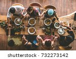 group of friend pray before... | Shutterstock . vector #732273142