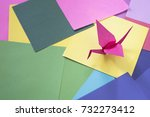 origami on a colorful paper.... | Shutterstock . vector #732273412