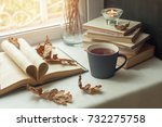autumn still life. books ... | Shutterstock . vector #732275758