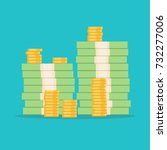stack of money dollars. gold... | Shutterstock .eps vector #732277006