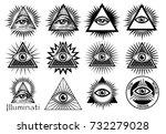 illuminati symbols  masonic... | Shutterstock .eps vector #732279028