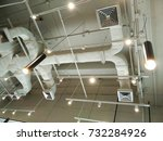 Small photo of Industrial of air condition system of pipes and fans on ceiling