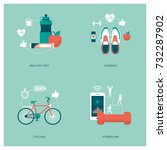 fitness  sports  personal... | Shutterstock .eps vector #732287902