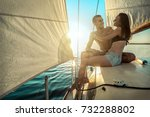 romantic couple in love on sail ... | Shutterstock . vector #732288802