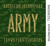 army stencil alphabet font.... | Shutterstock .eps vector #732300346