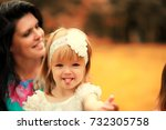 mom with two daughters twins... | Shutterstock . vector #732305758