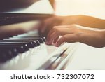 close up of happy woman's hand... | Shutterstock . vector #732307072