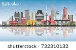 rotterdam netherlands skyline... | Shutterstock .eps vector #732310132