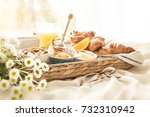 continental breakfast on white... | Shutterstock . vector #732310942