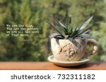 Small photo of Clay cup and saucer planter with a bible verse from Isaiah