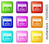calendar happy birthday icons... | Shutterstock . vector #732324022