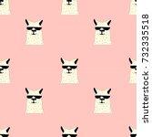llama seamless pattern vector... | Shutterstock .eps vector #732335518