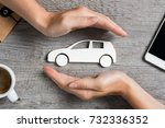 hands protecting icon of car... | Shutterstock . vector #732336352