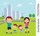 family walk in the neighborhood | Shutterstock .eps vector #732337066