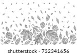 autumn leaves. happy... | Shutterstock .eps vector #732341656