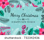 merry christmas and happy new... | Shutterstock .eps vector #732342436