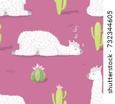 seamless pattern with alpaca  ... | Shutterstock .eps vector #732344605