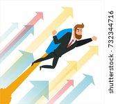 businessman flying on a rocket .... | Shutterstock .eps vector #732344716