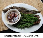 grilled catfish with   boiled... | Shutterstock . vector #732345295