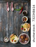 two bowls of home made pork... | Shutterstock . vector #732348616