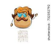 vector funny cartoon cute brown ... | Shutterstock .eps vector #732352792