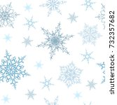 snowflakes seamless pattern.... | Shutterstock .eps vector #732357682
