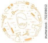 illustration of men hairstyles  ... | Shutterstock .eps vector #732358012