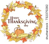 thanksgiving day poster with... | Shutterstock .eps vector #732370282