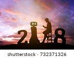2018 years of robot assistant... | Shutterstock . vector #732371326